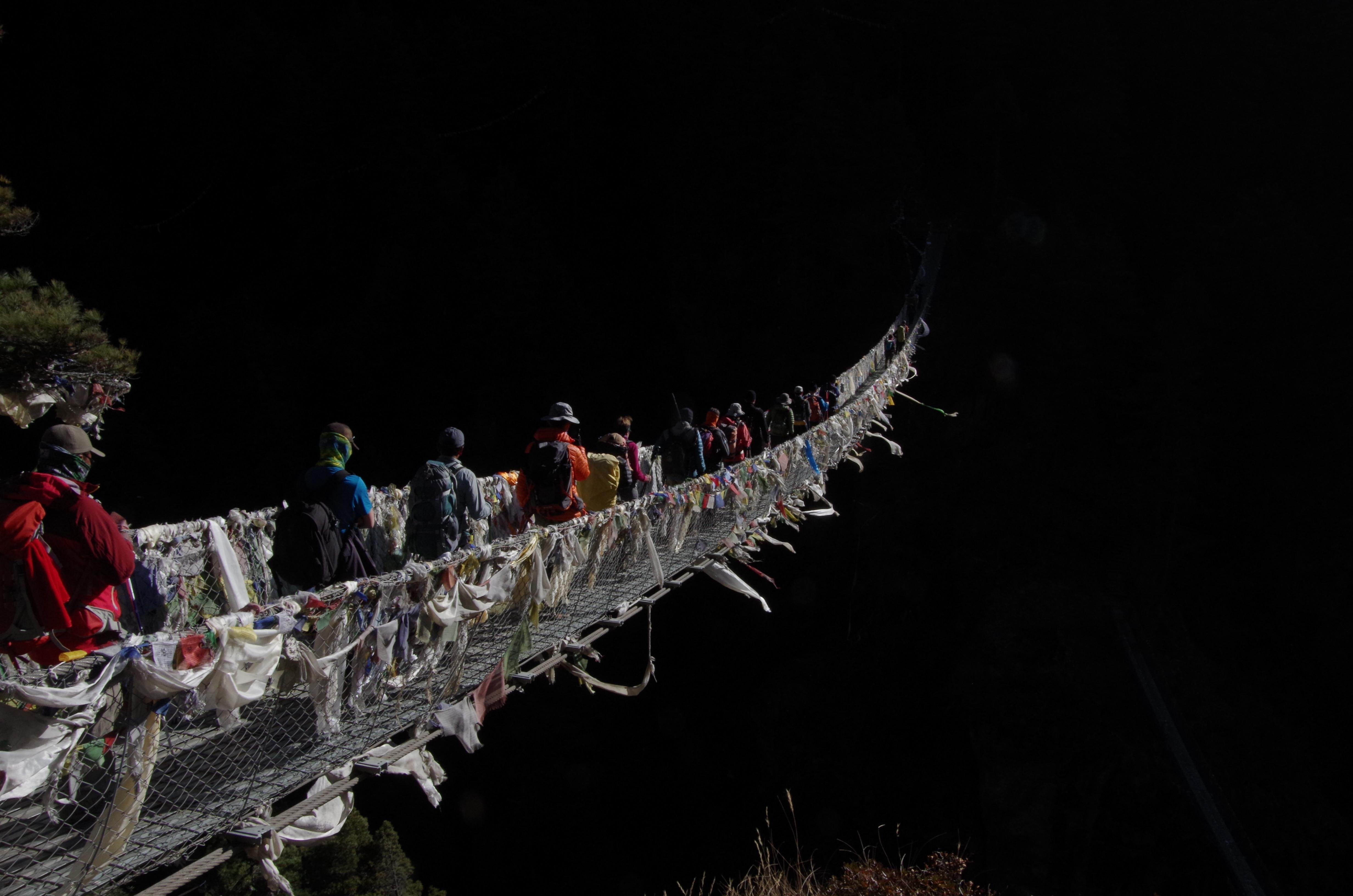 Pont suspendu de Namche dans la région de l'Everest