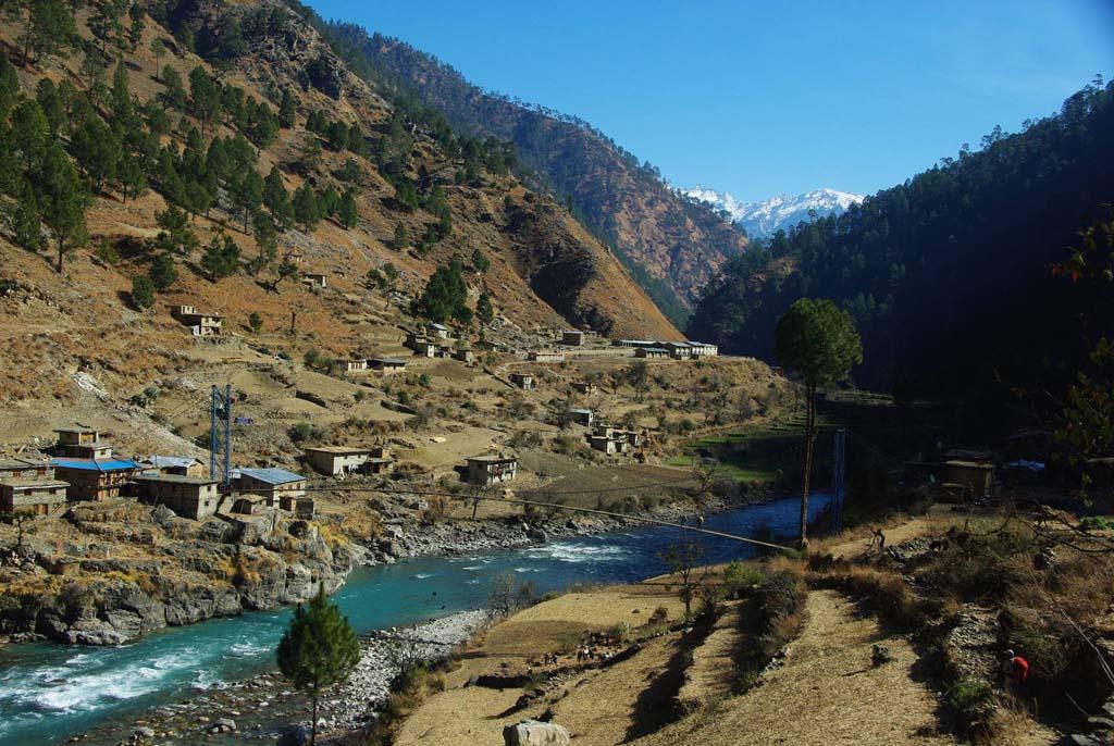 Pont au-dessus de la karnali à l'ouest du Népal